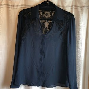 Guess navy blue long sleeve blouse